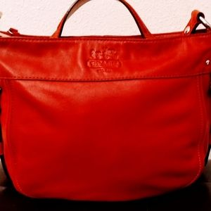 Authentic Coach Zoe hobo red leather purse